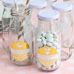 Personalized Baby Shower Metallic Foil Milk Bottles