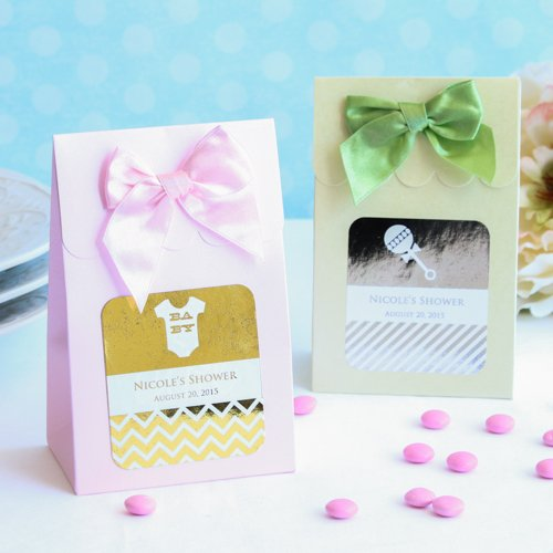 Personalized Baby Shower Metallic Foil Candy Bags