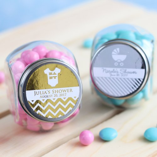 Personalized Baby Shower Metallic Foil Candy Jars