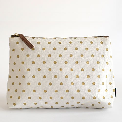 Travel Pouch Bag in Gold Dots