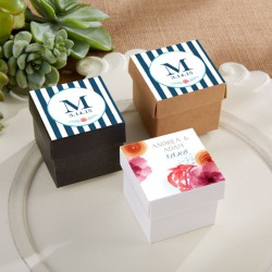 Square Favor Boxes with Personalized Labels