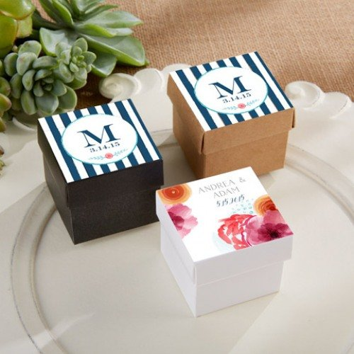 Square Favor Boxes with Personalized Botanical Labels