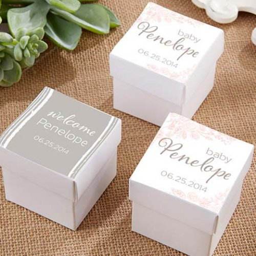 Square Favor Boxes With Personalized Baby Shower Labels