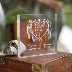Personalized Woodgrain Love Cake Topper