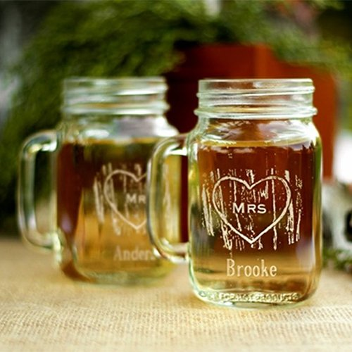 Personalized Woodgrain Love Mason Jars