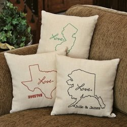 Personalized State Linen Throw Pillow