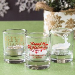 Personalized Holiday Shot Glass Votive Holder