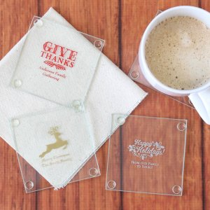 Personalized Holiday Glass Coasters