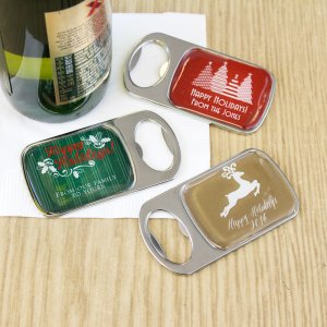 Personalized Holiday Bottle Opener with Epoxy Dome