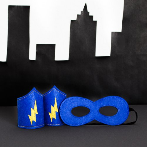 Superhero Mask and Arm Band Set in Blue