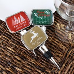 Personalized Holiday Bottle Stopper with Epoxy Dome