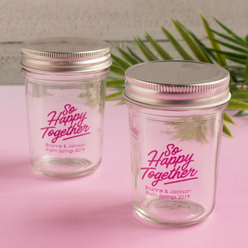 Personalized Happy Together Printed Glass Mason Jar