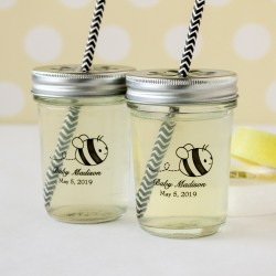Personalized Baby Shower Printed Glass Mason Jar