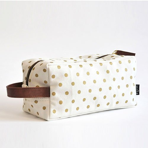 Travel Case with Zipper in Gold Dots