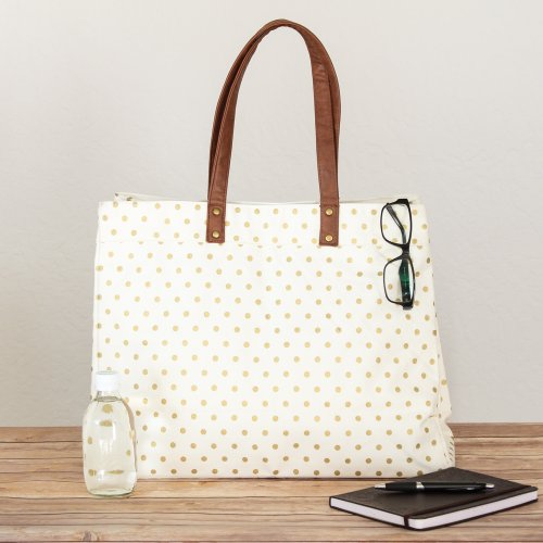 Canvas Tote Bag in Gold Dots