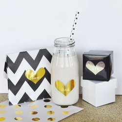 Personalized Metallic Foil Heart Stickers