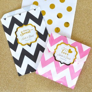 Personalized Wedding Metallic Foil Pattern Goodie Bags