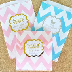 Personalized Baby Shower Metallic Foil Pattern Goodie Bags