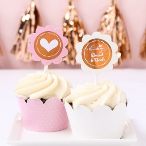 Personalized Metallic Foil Cupcake Wrappers & Toppers