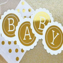 Personalized Baby Metallic Foil Scallop Banner