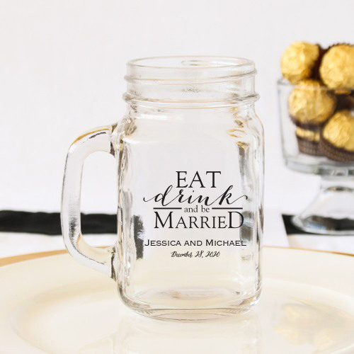 Personalized Eat Drink Be Married Printed Mason Jar Mug