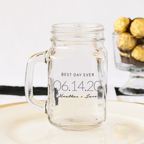 Personalized Wedding Date Printed Mason Jar Mug