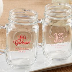 Personalized Birthday Printed Mason Jar Mug
