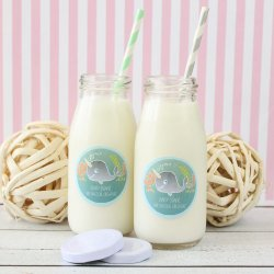 Personalized Baby Shower Themed Milk Jars and Straws
