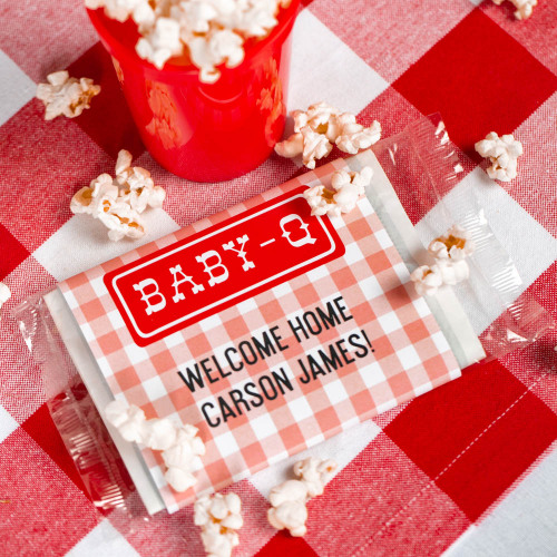Personalized Baby-q Baby Shower Themed Microwaveable Popcorn Bags