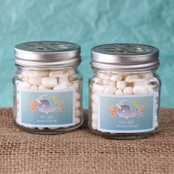 Personalized Baby Shower Themed Flower Lid Mason Jars