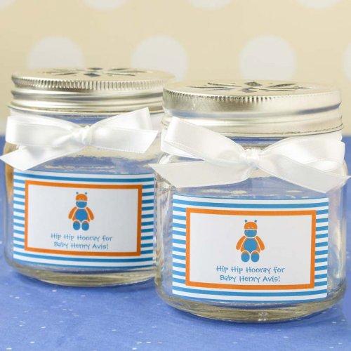 Personalized Baby Stripe Flower Lid Mason Jars