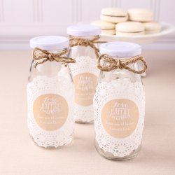 Personalized Wedding Themed Milk Jars and Straws