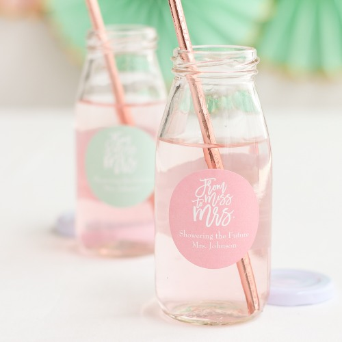 Personalized Miss to Mrs Milk Jars and Straw