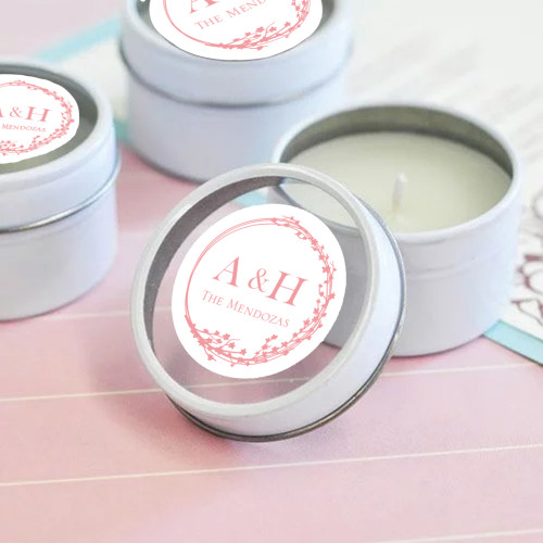 Personalized Cherry Blossom Wedding Themed Round Candle Tin
