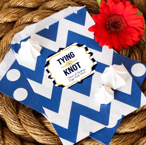 Personalized Nautical Themed Pattern Goodie Bags