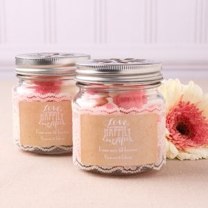 Personalized Wedding Themed Flower Lid Mason Jars