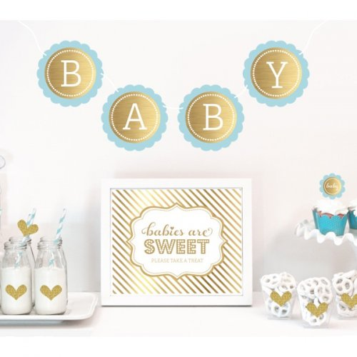 gold baby shower decor kit glitter baby shower decor kit