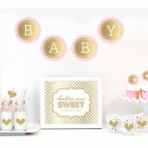 Gold & Glitter Baby Shower Decor Kit