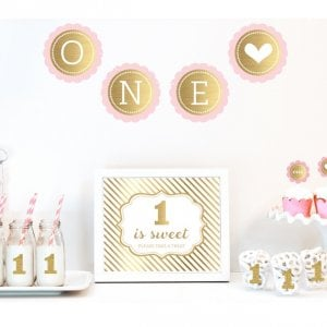 Gold & Glitter 1st Birthday Decor Kit