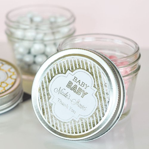 Personalized Baby Shower Metallic Foil 4 oz. Mason Jar