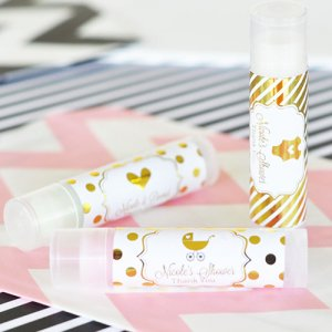 Personalized Baby Shower Metallic Foil Lip Balm