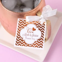 Personalized Metallic Foil Square Favor Tags and Labels