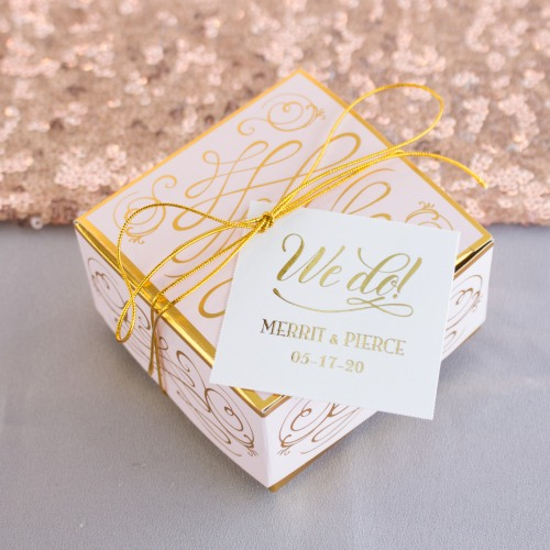 Personalized We Do Metallic Foil Square Favor Tags and Labels