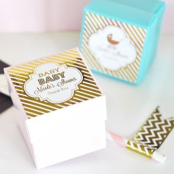 Personalized Baby Shower Metallic Foil Square Labels