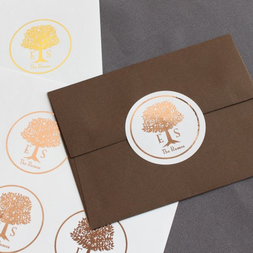 Personalized Wedding Tree Metallic Foil Round Labels