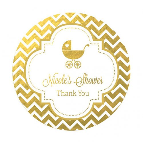 Personalized Baby Shower Metallic Foil Round Labels
