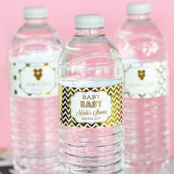 Personalized Baby Shower Metallic Drink Labels