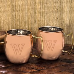 Personalized Copper Moscow Mule Mug Set
