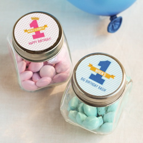 Personalized 1st Birthday Candy Jars