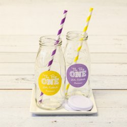 Personalized Milestone Birthday Milk Jars and Straws